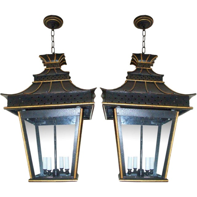 A Pair of Custom Asian-Inspired Tole Painted Lanterns For Sale
