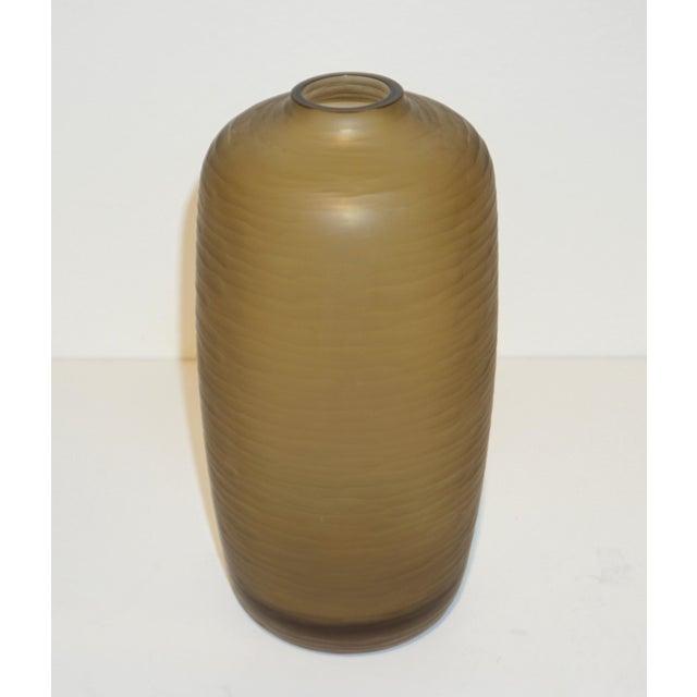 Salviati Vintage Italian Smoked Amber Gold Battuto Murano Art Glass Vases - Set of 4 For Sale - Image 9 of 12