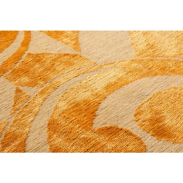 "Gold Contemporary Hand Knotted Golden ""Kaleidoscope"" Rug For Sale - Image 8 of 11"