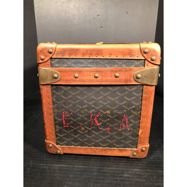 Brown Goyard Jewelry or Valuables Trunk Train Case For Sale - Image 8 of 13