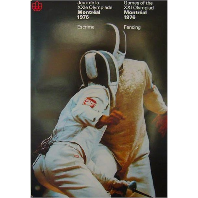 English Traditional 1976 Montreal Olympics Fencing Poster For Sale - Image 3 of 3