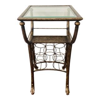 Vintage Wine Rack Metal Table in Antiqued Finish For Sale