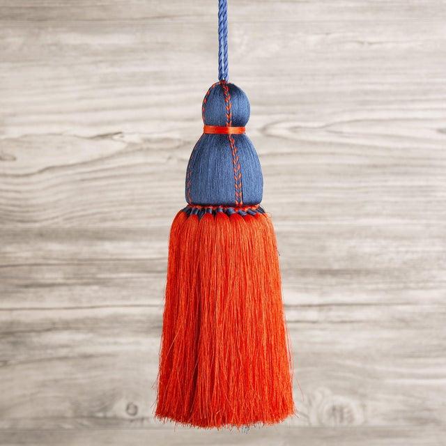 Traditional Navy & Orange Tassel, Large For Sale - Image 3 of 3
