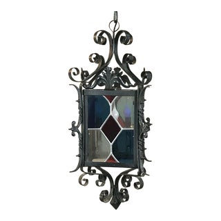 Antique Wrought Iron With Stained Glass Lantern For Sale