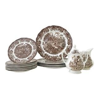 "Vintage English Royal Staffordshire Ironstone Dinnerware ""Stratford Stage"" - Set of 16 For Sale"