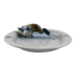 Vintage Metzler & Ortloff Mallard Duck Porcelain Ashtray For Sale