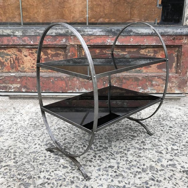 1930s 1930s Art Deco Etched Steel and Cobalt Glass Two-Tier Side Table For Sale - Image 5 of 9