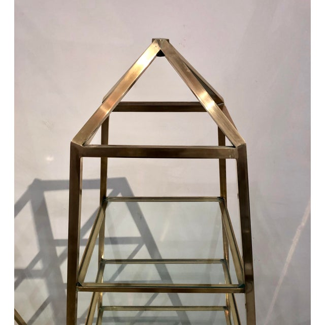 Metal 1960s Brass Italian Obelisk Shaped Etageres - a Pair For Sale - Image 7 of 12