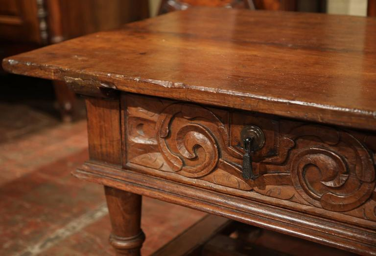 Wood 19th Century French Carved Chestnut Coffee Table From The Pyrenees  Mountains For Sale   Image