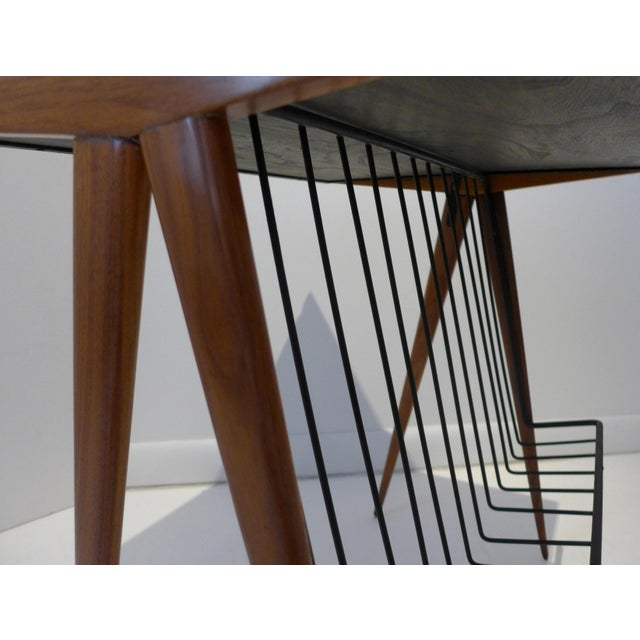 Brown Side Table with Magazine Rack by Arthur Umanoff For Sale - Image 8 of 9