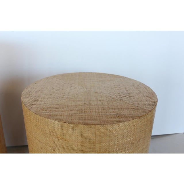 Modern Karl Springer Style Modern Grasscloth and Brass Side Tables For Sale - Image 3 of 6