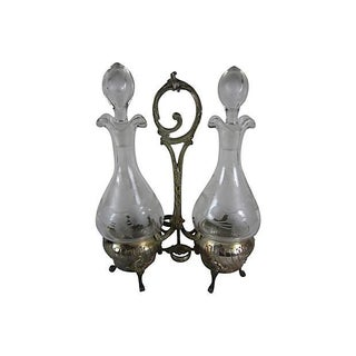 Antique French Silver & Crystal 5 Piece Cruet Set