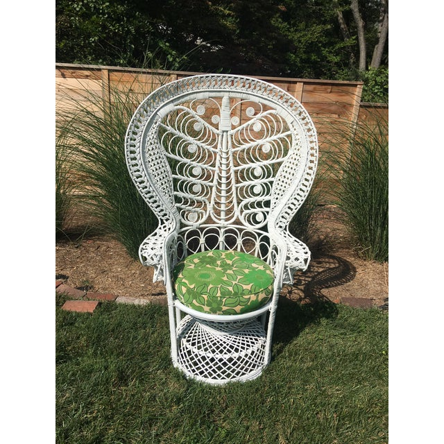 Vintage 1960s White Wicker Butterfly Design Peacock Chair