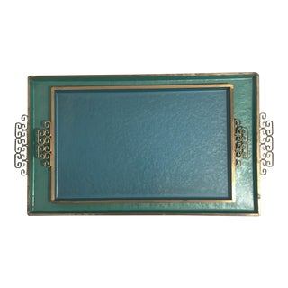 Mid-Century Kyes of Pasadena Teal & Blue Metal Serving Trays - a Pair