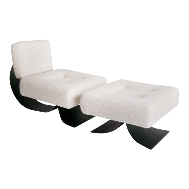 """Oscar Niemeyer Attrib. Re-Issued Prototype """"Alta"""" Chair and Ottoman For Sale"""