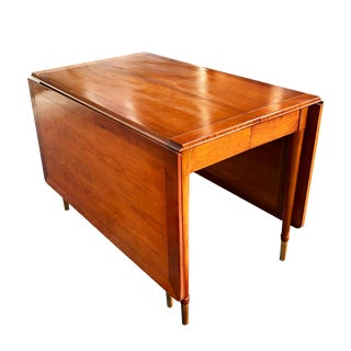 Mid-Century Modern Cherry Drop Leaf Pembroke Dining Table by Statton For Sale