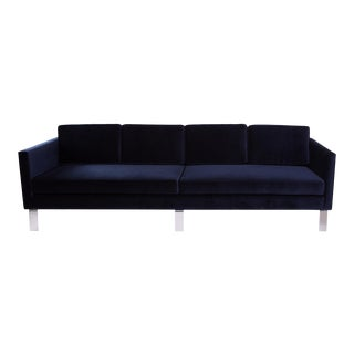 1970s Martin Brattrud Navy Mohair Sofa For Sale