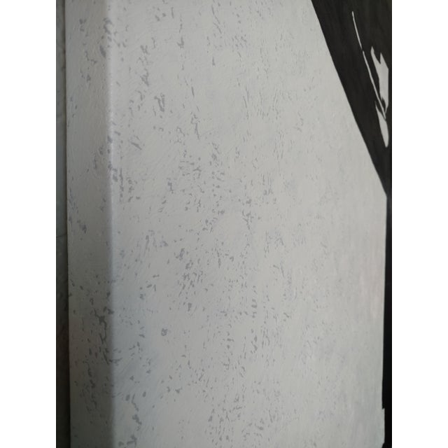 Hand Painted Large Black & White Abstract Painting - Image 7 of 11