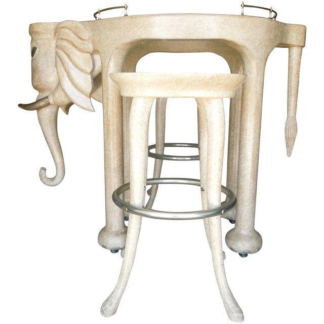 Rare Three Piece 1980s Elephant Bar Table and Stools by Marge Carson For Sale
