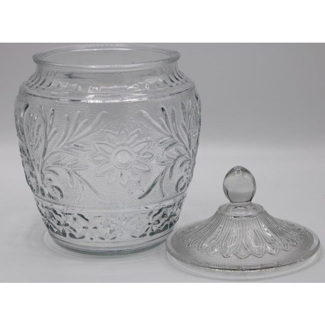 1950s 1950s Sandwich Glass Jar With Lid For Sale - Image 5 of 7