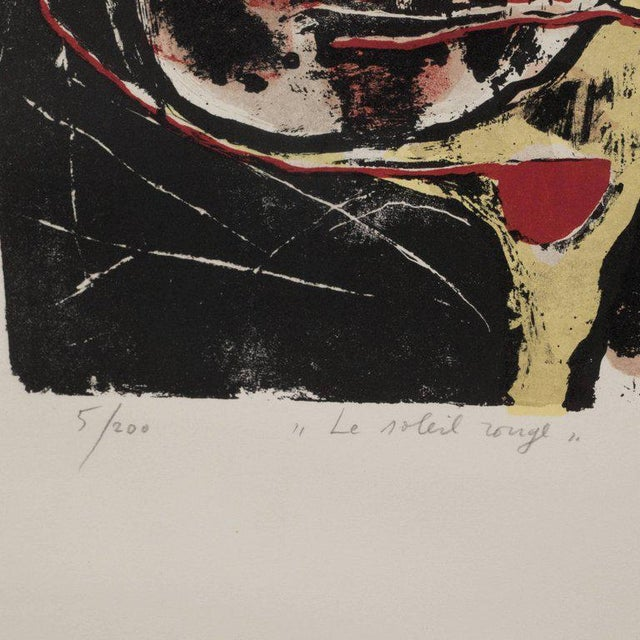 """Abstract Expressionism """"Le Soleil Rouge"""" Lithograph Printed in Colors, 1963 For Sale - Image 3 of 9"""