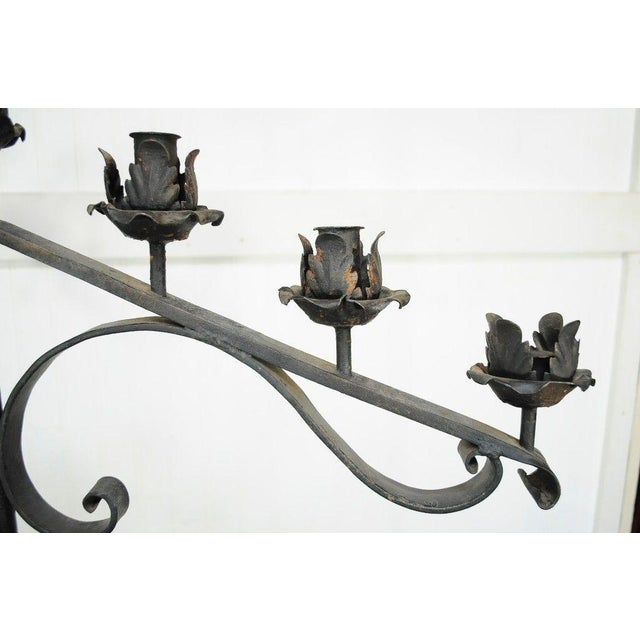 "Black 61"" Pair of Antique Gothic Mission Arts & Crafts Wrought Iron Candelabras Church For Sale - Image 8 of 11"