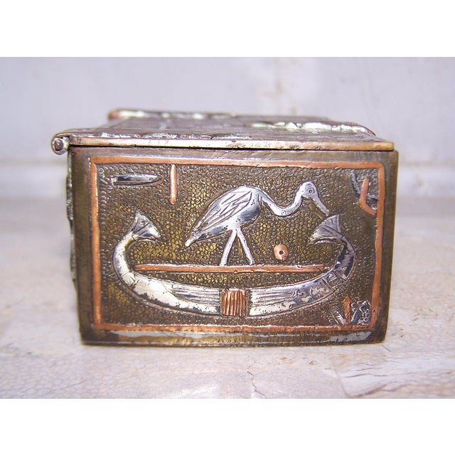 Vintage Mixed Metal Egyptian Motif Cigarette Box For Sale - Image 5 of 9