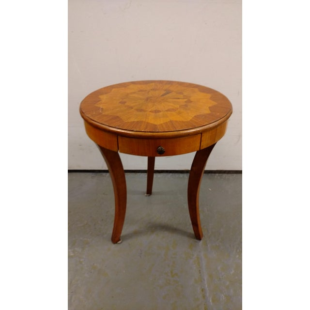 French Flea Market Style Marquetry Side Table For Sale - Image 4 of 4