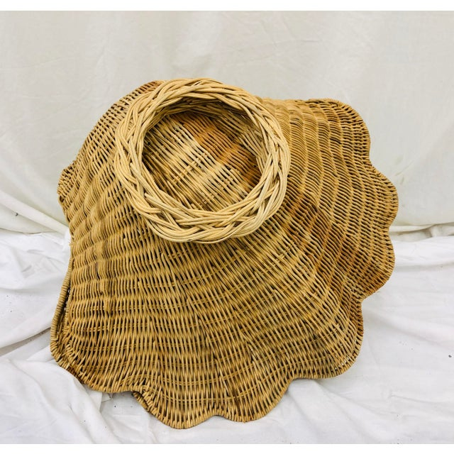 Vintage Woven Wicker Clam Shell Basket For Sale - Image 12 of 13
