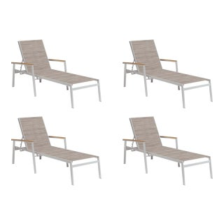 Outdoor Sling Chaise Lounge, Natural and Beige (Set of 4) For Sale