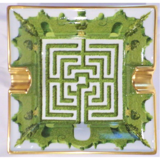 This is a fun little vintage Porcelain De Paris Shrub labyrinth maze catchall / cigar tray. This is a porcelain Hermes...