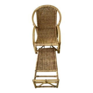 Vintage Bamboo Rattan Chair With Footstool For Sale