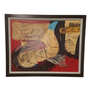 Mid 20th Century Mixed-Media Collage, Framed For Sale