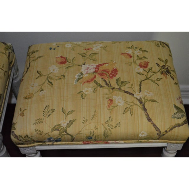 Gustavian Yellow Fabric Benches - a Pair For Sale - Image 4 of 9