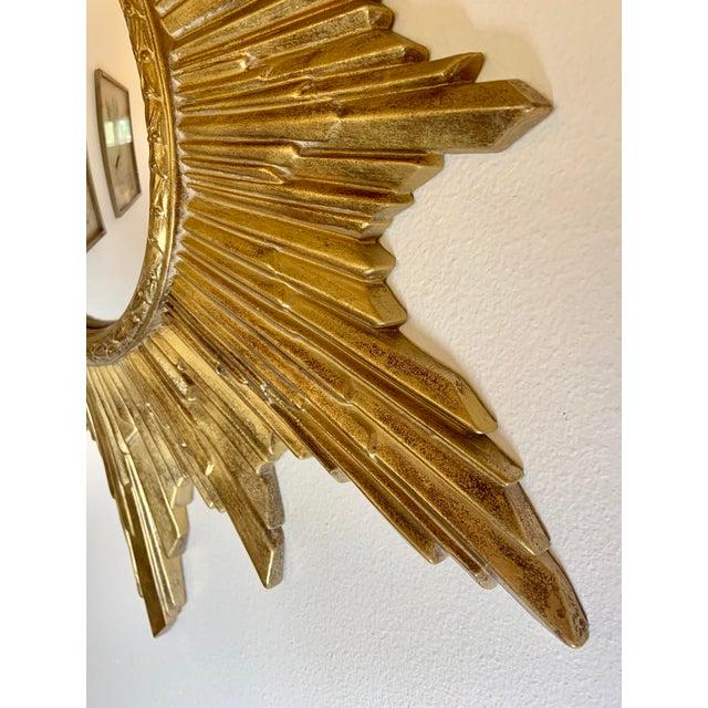 Vintage Gold Resin Frame Sunburst Convex Mirror For Sale - Image 6 of 8
