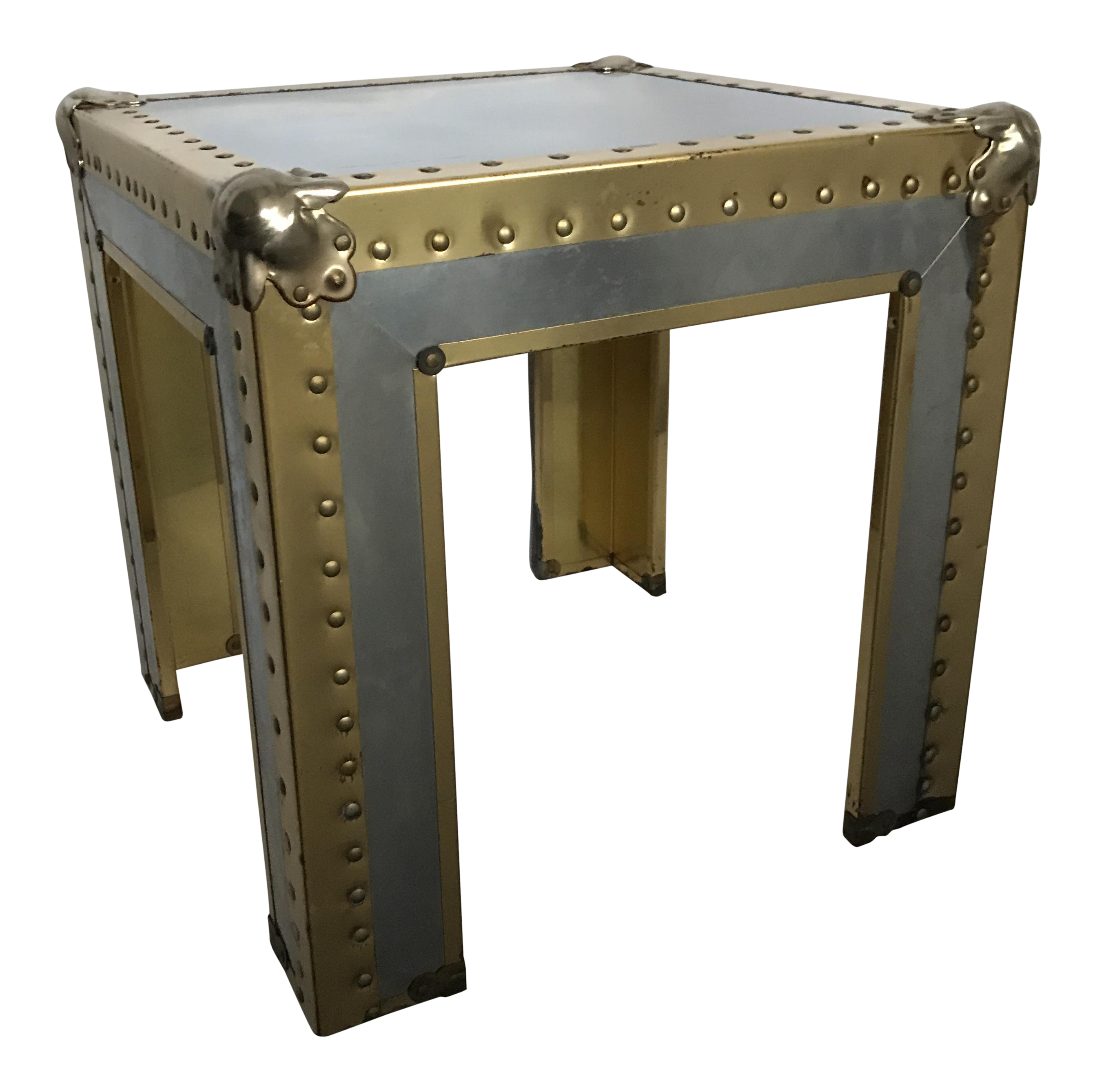 Vintage Riveted Brass And Metal Table