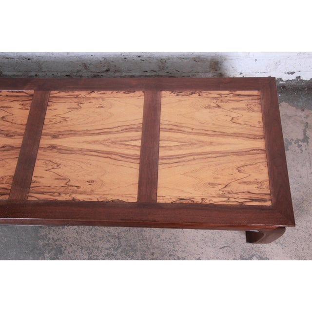 Brown Michael Taylor for Baker Chinoiserie Rosewood and Walnut Coffee Table, Newly Restored For Sale - Image 8 of 12