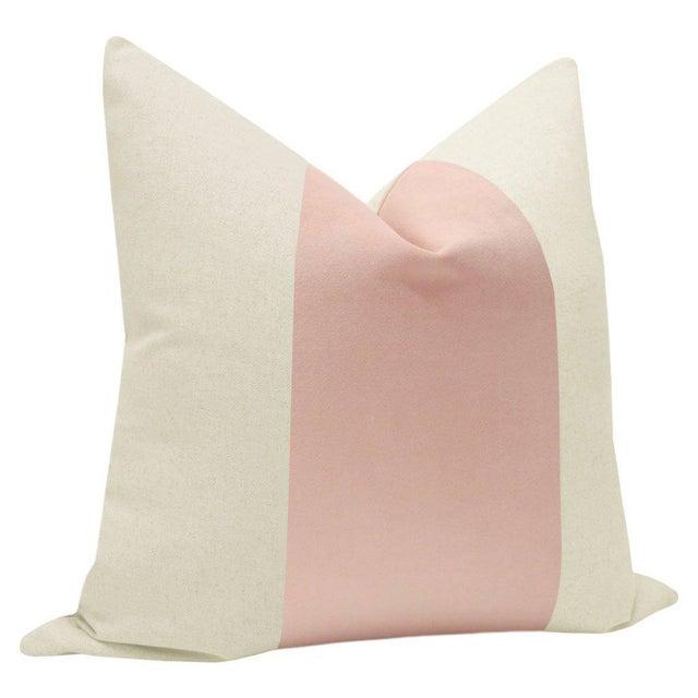 "Contemporary 22"" Blush Velvet Panel & Linen Pillows - a Pair For Sale - Image 3 of 6"