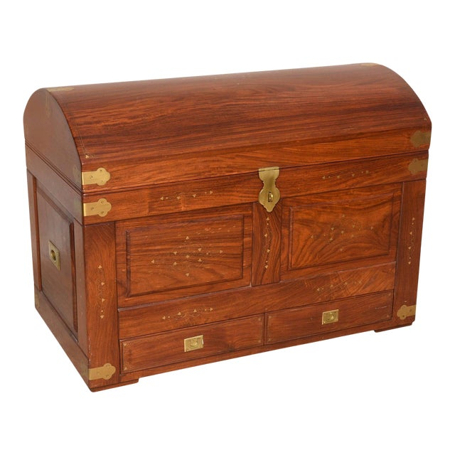 Mid-Century Anglo-Indian Domed Trunk For Sale