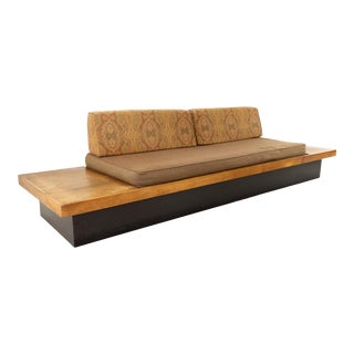 Adrian Pearsall Style Mid Century Walnut Daybed Sofa on Plinth Base For Sale