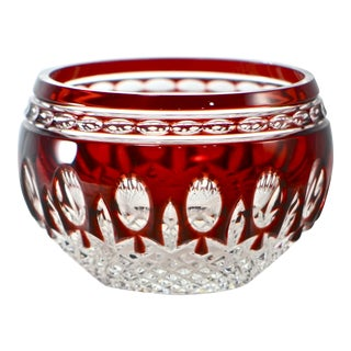 Ruby Red Waterford Cut Crystal Bowl For Sale