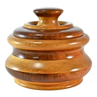 Mid-Century Turned Wood Jar For Sale