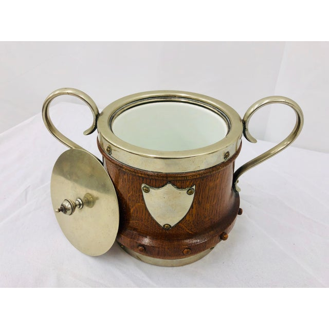 Metal Antique English Oak & Silver Serving Containers - Set of 2 For Sale - Image 7 of 13