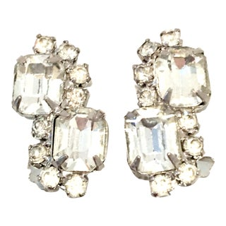 "20th Century Weiss Style Silver & Swarovski Crystal ""Diamond"" Earrings For Sale"