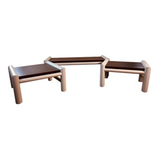 1980s Plastic Indoor/Outdoor Table Set, 3 Pcs For Sale