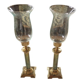 Hurricane Glass & Brass Candleholders - A Pair For Sale