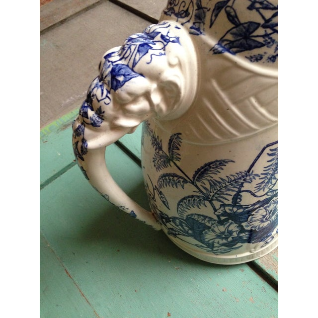 Antique Blue Transfer Ware Curved Pitcher For Sale - Image 4 of 9