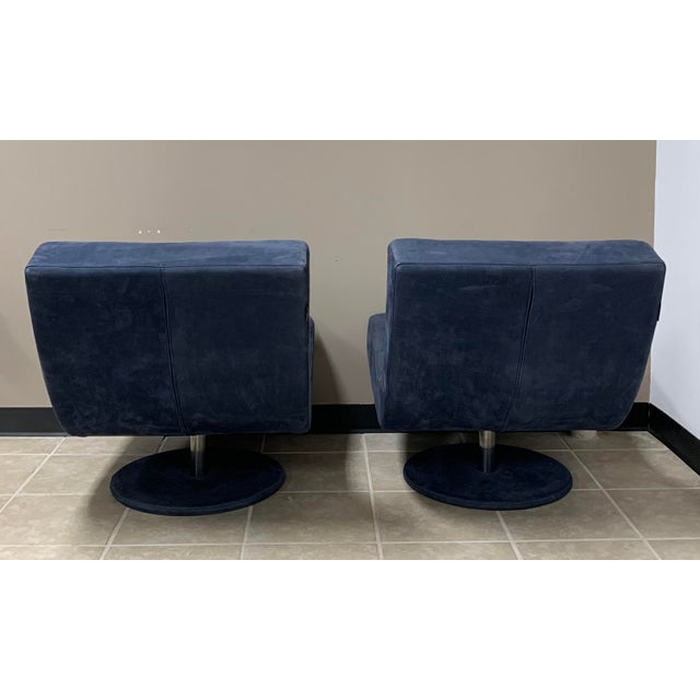 Post Modern Italian Leather Roche Bobois Swivel Lounge Chair and Ottoman For Sale In Birmingham - Image 6 of 12