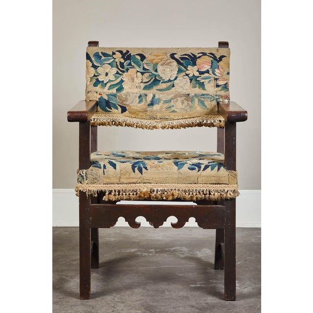 19th C. Spanish Walnut Chair With Embroidered Upholstery For Sale - Image 9 of 9