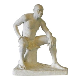 Mid 20th Century Seated Male Nude Plaster Sculpture For Sale